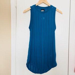 Ivy Park Blue Sheer Knit Sleeveless Tunic Tank